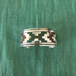 Stunning Navajo vintage turquoise and coral inlay